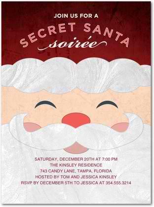 secret santa soirée holiday party invitations