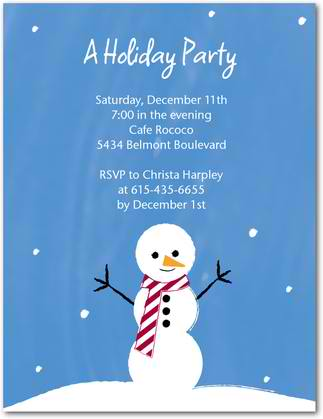 striped snowman holiday party invitations