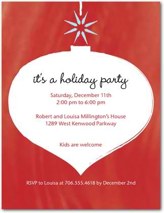 twinkling ornament holiday party invitations