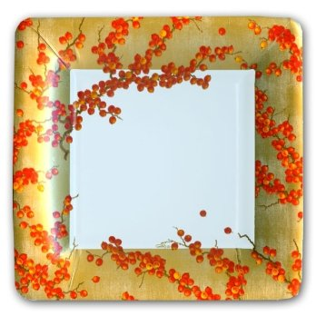 Berry Branches Gold Square Plates
