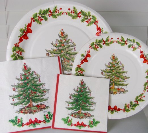 Assorted Spode Christmas Tree Paper Plates & Napkins Set
