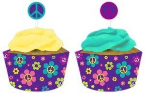 Groovy Girl Cupcake Pick Decorations with Matching Baking Cup Wrappers