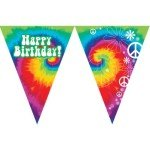 Tie Dye Fun Happy Birthday Party Flag Banner