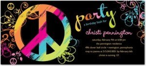 DAY GLO PEACE- BLACKSTUDIO BASICS- BIRTHDAY PARTY INVITATIONS