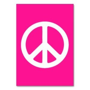 Deep Pink and White Peace Symbol Table Card