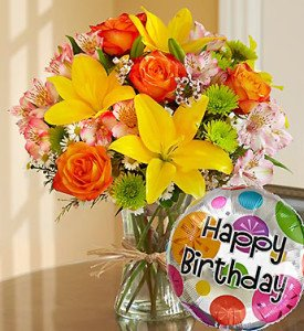 Fields of Europe Happy Birthday Floral Arrangement