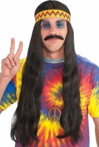 Franco American Novelty Long Black Hippie Costume Wig