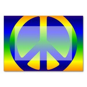 Funky Rainbow Peace Symbol Table Card