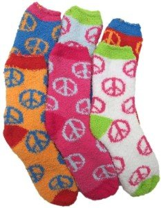 Fuzzy Socks with Peace Signs