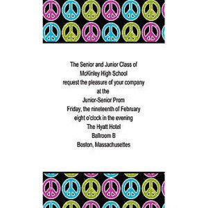 Glitter Peace Sign Vertical Invitations