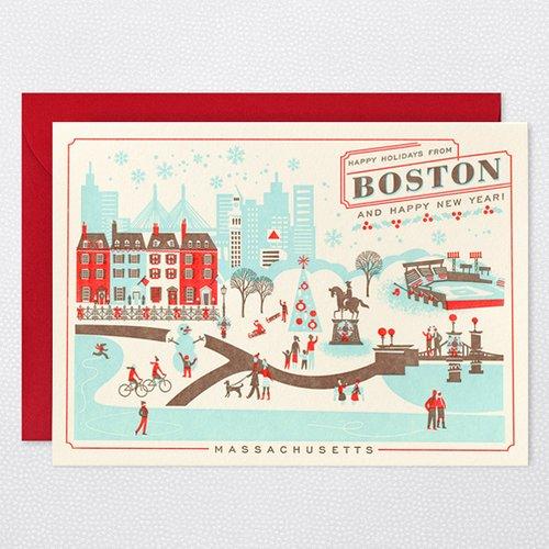 HAPPY HOLIDAYS FROM BOSTON Holiday Cards