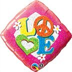 LOVE 60's Rainbow Daisies Peace Tye Tie Dye Hippie Diamond  Mylar Balloon