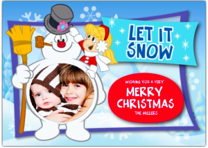 Let It Snow Frosty The Snowman Holiday Photo Cards