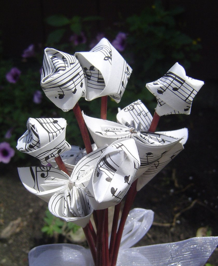 Mini Star and Flower Sheet Music Bouquet
