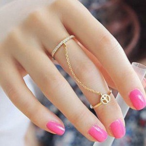 Moonar Gold Plated Peace Love Charming Rhinestones Thin Simple Chain Double Ring Finger Ring