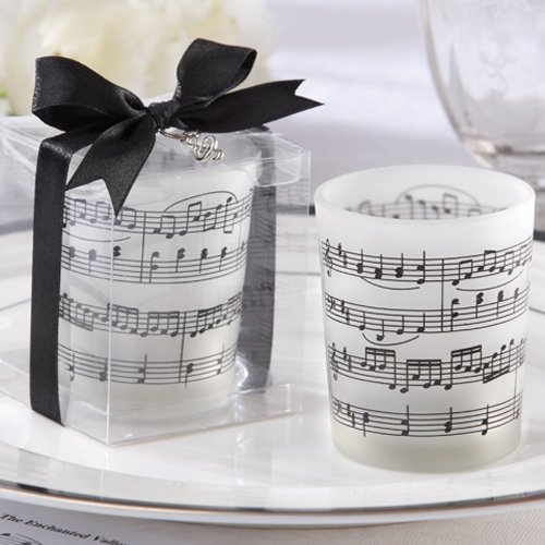 Music Notes Frosted-Glass Tea Light Holder