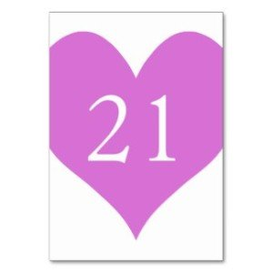 Orchid Numbered Heart Table Card