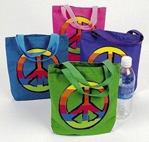 PEACE SIGN Canvas TOTE Bags
