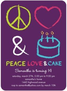 PERFECT BIRTHDAY- Peace love and cake PARTY INVITATIONS