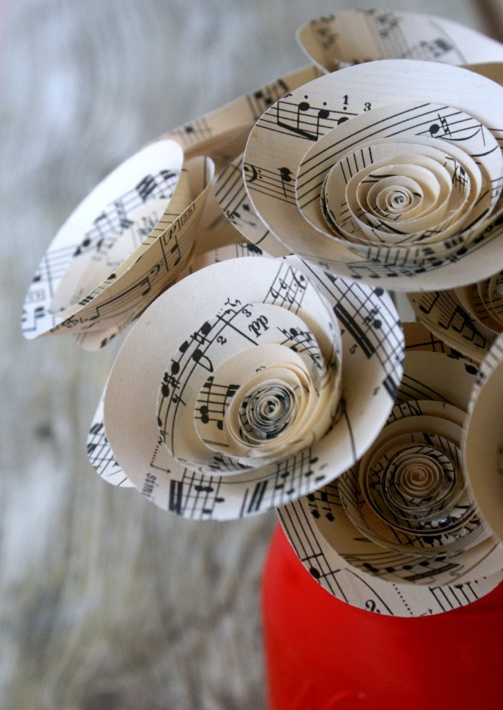 Paper Bouquet Made from Vintage Sheet Music