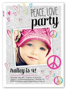 Peace Love Party Birthday Invitation