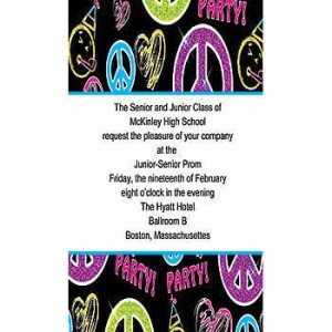 Peace, Love, Party Border Vertical Invitations