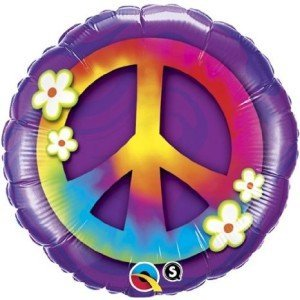 Peace Sign & Daisies Mylar Foil Balloon