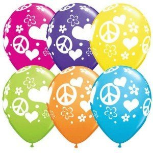 Peace Sign Love Latex Balloons