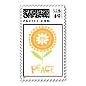 Peace flower copy postage