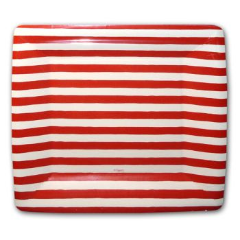 Red and White Stripe Square Plates