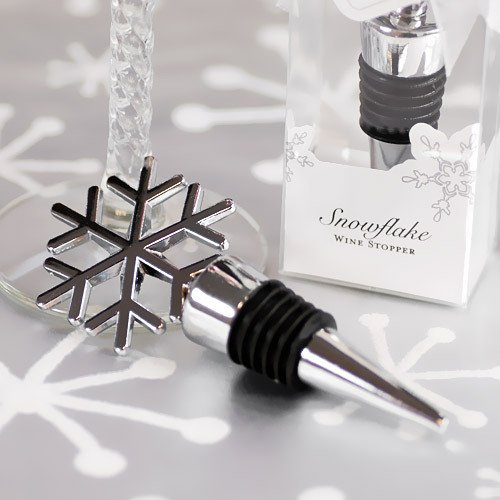 Silver Snowflake Wine Stopper Favors