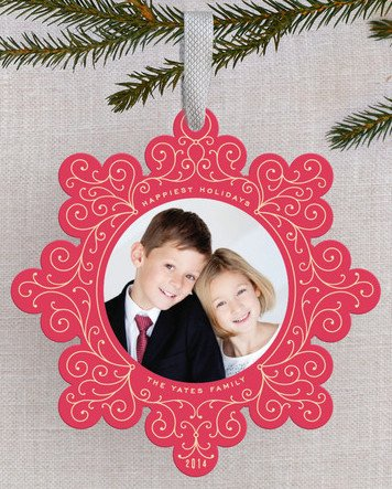Vintage Swirl Holiday Ornament Cards