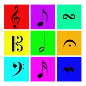 bright music symbols invitations