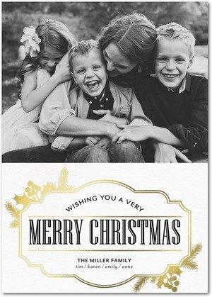 gilded merriment foil stamped holiday cards