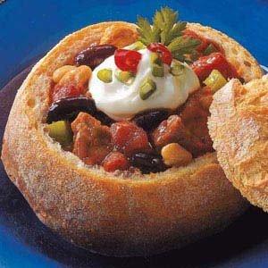 Chili in Bread Bowls Recipe