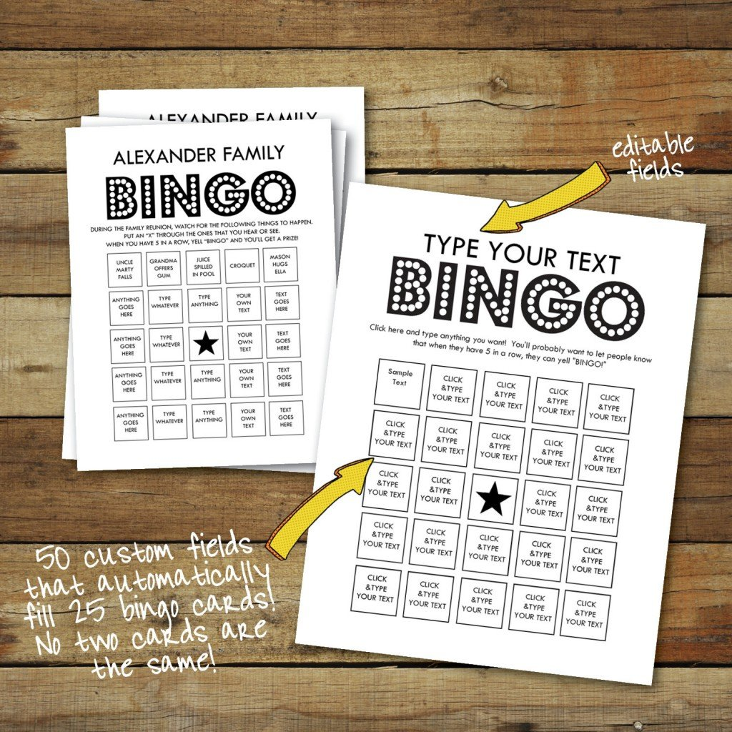 Custom Printable Bingo Cards