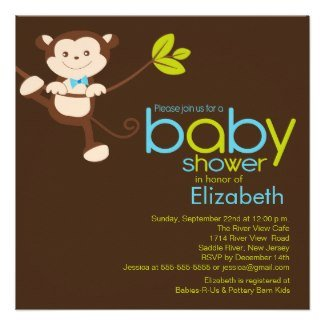 Cute Monkey Baby Shower Invite