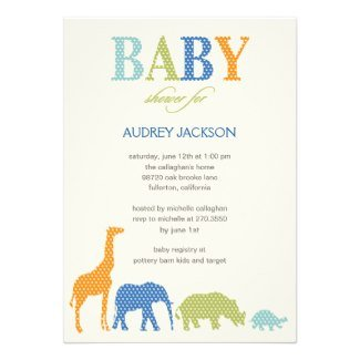 Dotty Animals Baby Shower Invite