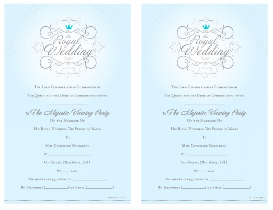 Free Printable Royal Wedding Invitations, Royal Wedding Viewing Party