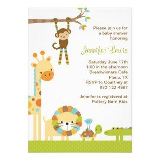 Jungle Safari Baby Shower Invite