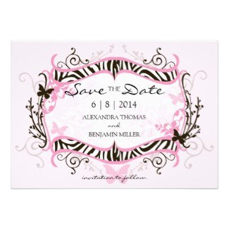 PInk zebra Save the date 2