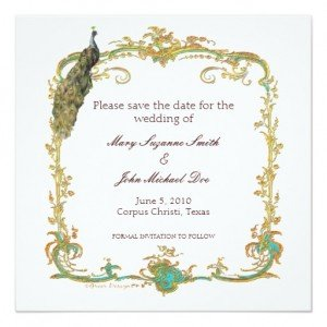 Peacock Wedding Save the Date Invitation, Royal Wedding Viewing Party