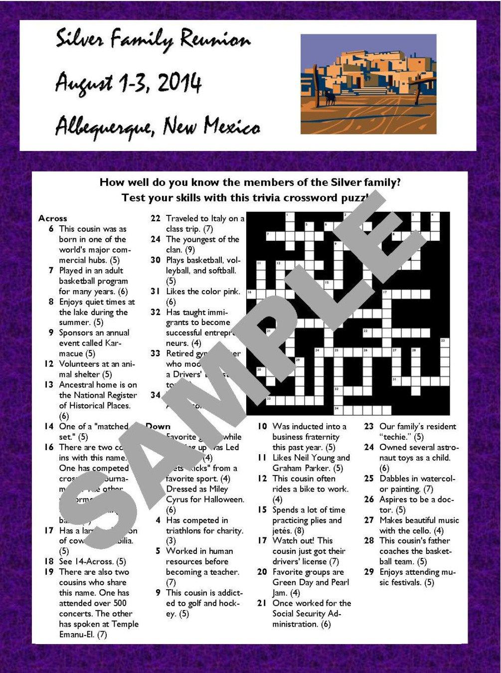 Personalized Family Reunion Printable Trivia Crossword, printable family reunion games