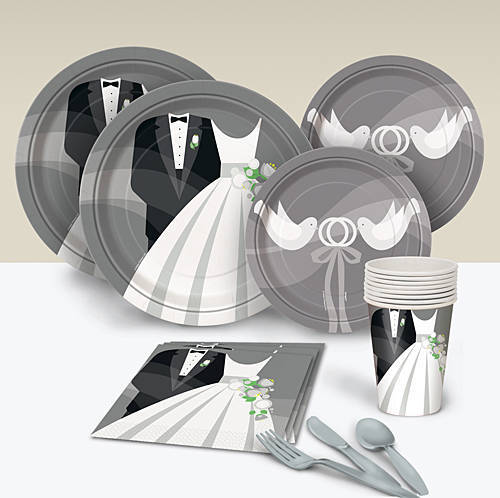 Silver Wedding Party Paper Goods, Royal Wedding Viewing Party Paper Goods