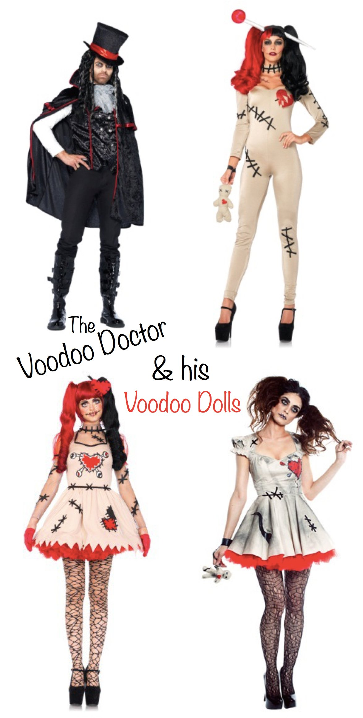 The Voodoo Doctor and His Voodoo Dolls Group Costume, Mardi Gras Costumes, Halloween Costumes