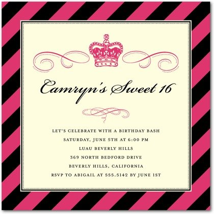 Princess Stripes Invitations