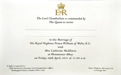 Prince William and Kate Middleton's Wedding Invitation, Royal Wedding Viewing Party