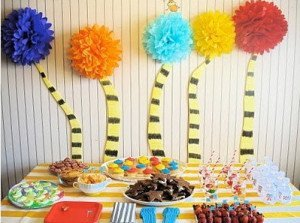 Dr Seuss Birthday Party PomPoms