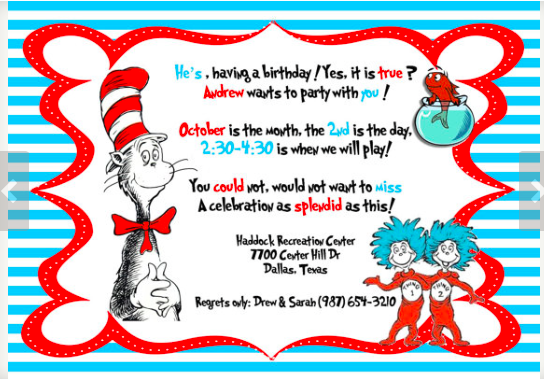 dr seuss theme party planning, ideas & supplies | partyideapros, Party invitations