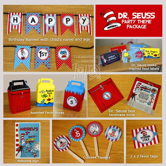 Dr Seuss PERSONALIZED PRINTED Birthday Party Theme Kit